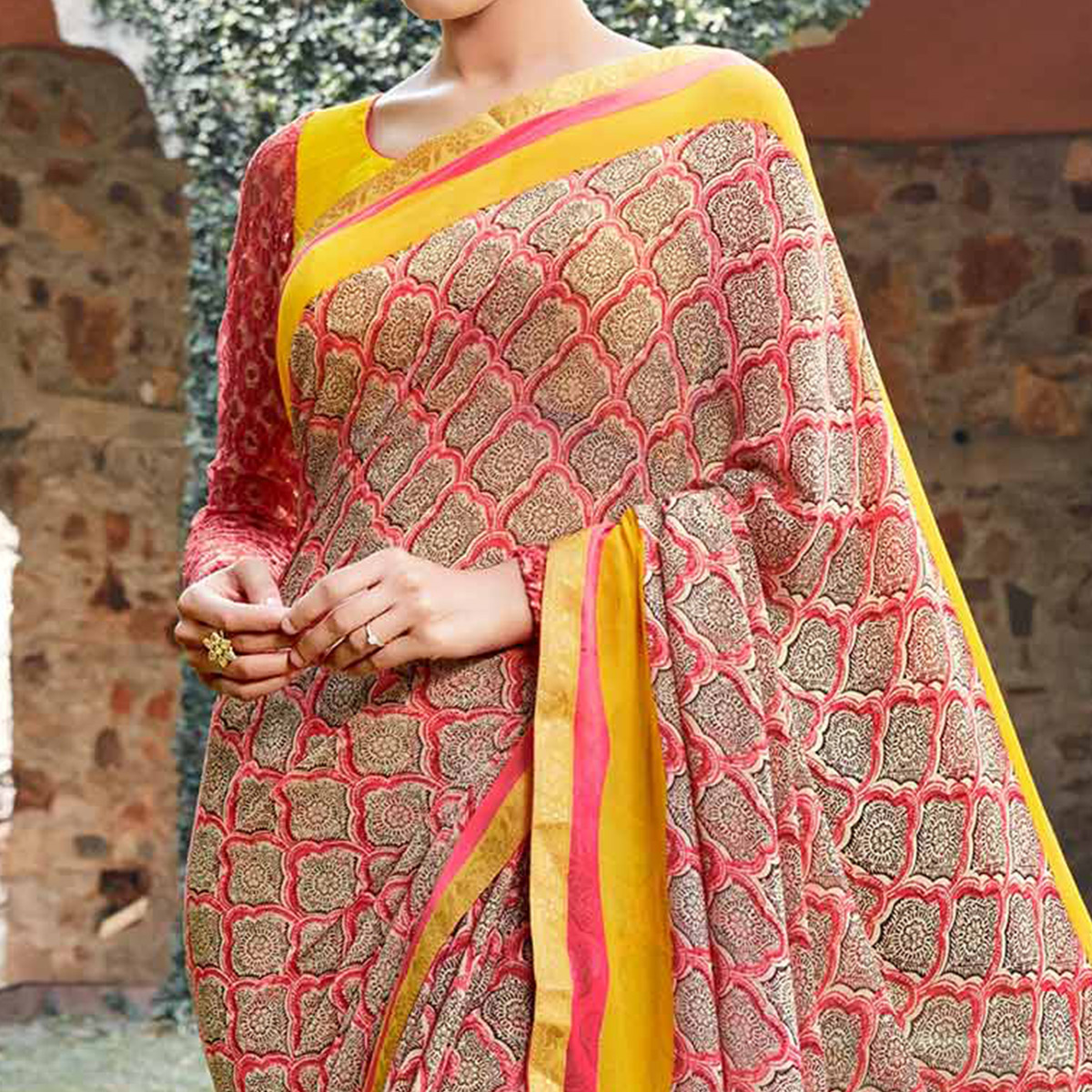 Brown Georgette Digital Printed Saree
