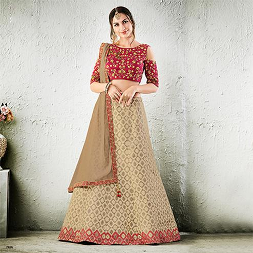 Maroon-Beige Colored Designer Embroidered Jacquard Silk Lehenga Choli