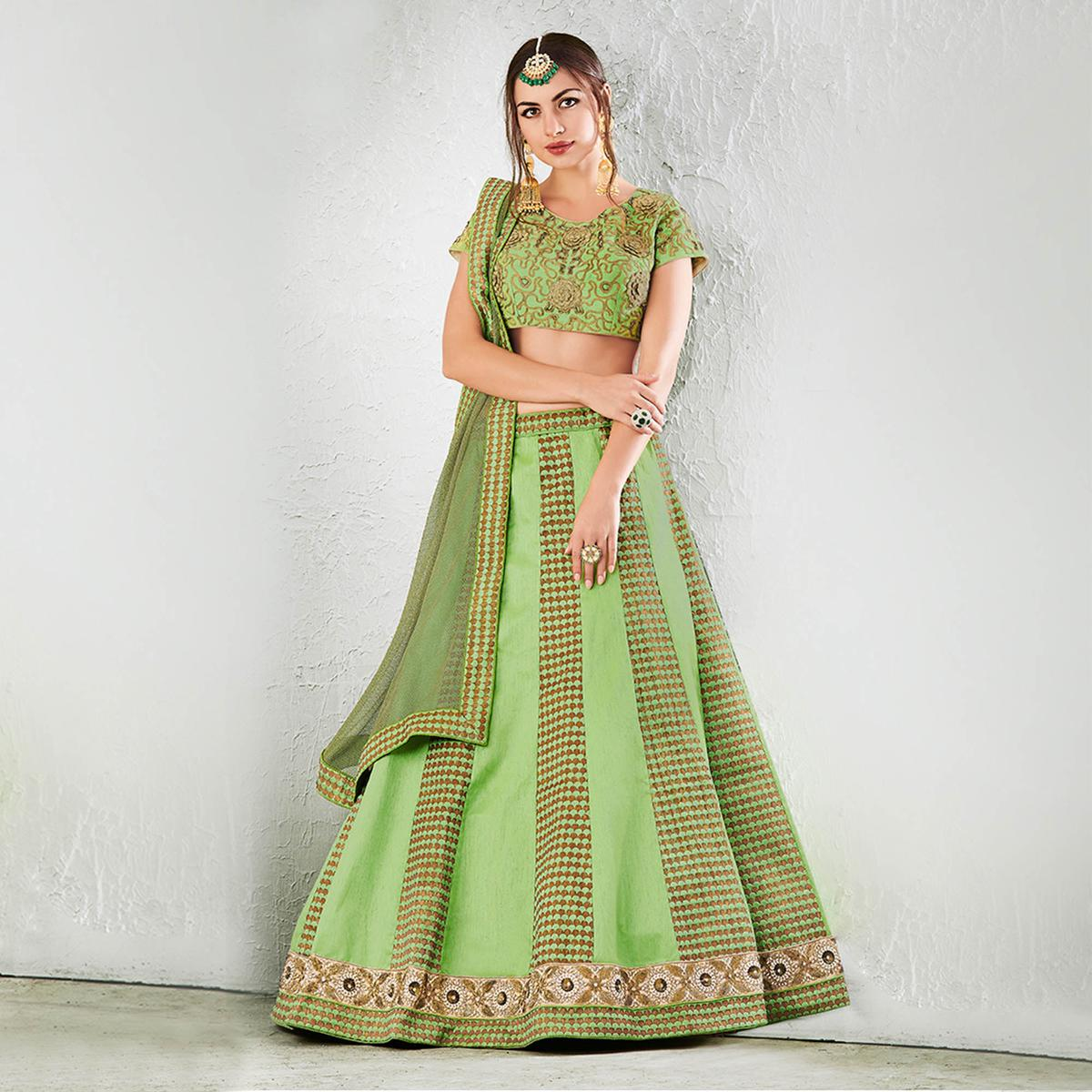 Green Colored Designer Embroidered Jacquard Silk Lehenga Choli