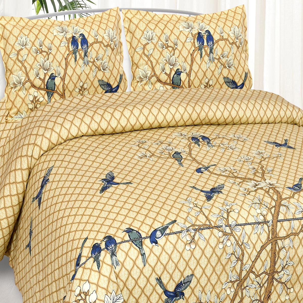 Jaipur Fabric Desirable Golden Floral Peach King Size Bedsheet with 2 Pillow Covers
