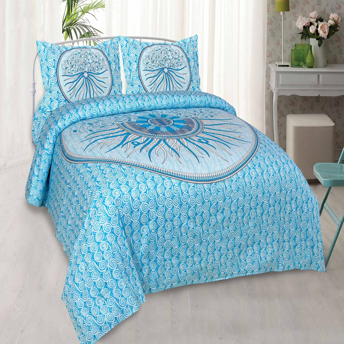 Jaipur Fabric Radiant Checks Sky Blue Hand Art Cotton King Size Bedsheet with 2 Pillow Covers