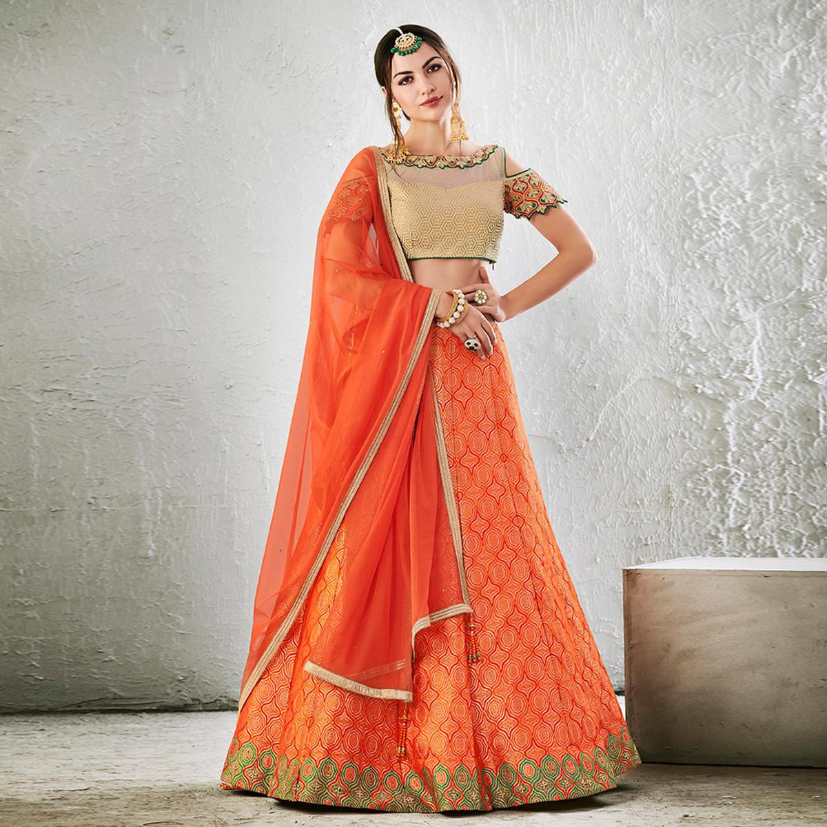 Orange-Golden Colored Designer Embroidered Jacquard Silk Lehenga Choli