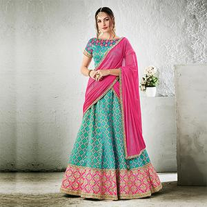 Teal Colored Designer Embroidered Jacquard Silk Lehenga Choli