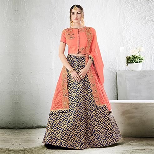 Peach-Navy Blue Colored Designer Embroidered Jacquard Silk Lehenga Choli