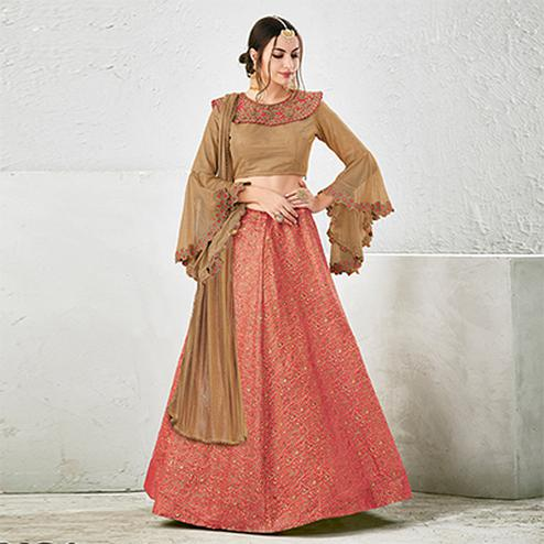 Beige-Peach Colored Designer Embroidered Jacquard Silk Lehenga Choli