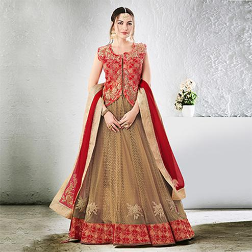 Beige-Red Colored Designer Embroidered Jacquard Silk Lehenga Choli