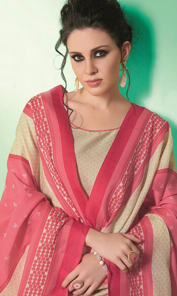 Beige - Pink  Colored Casual Wear Printed Soft Cotton Dress Material