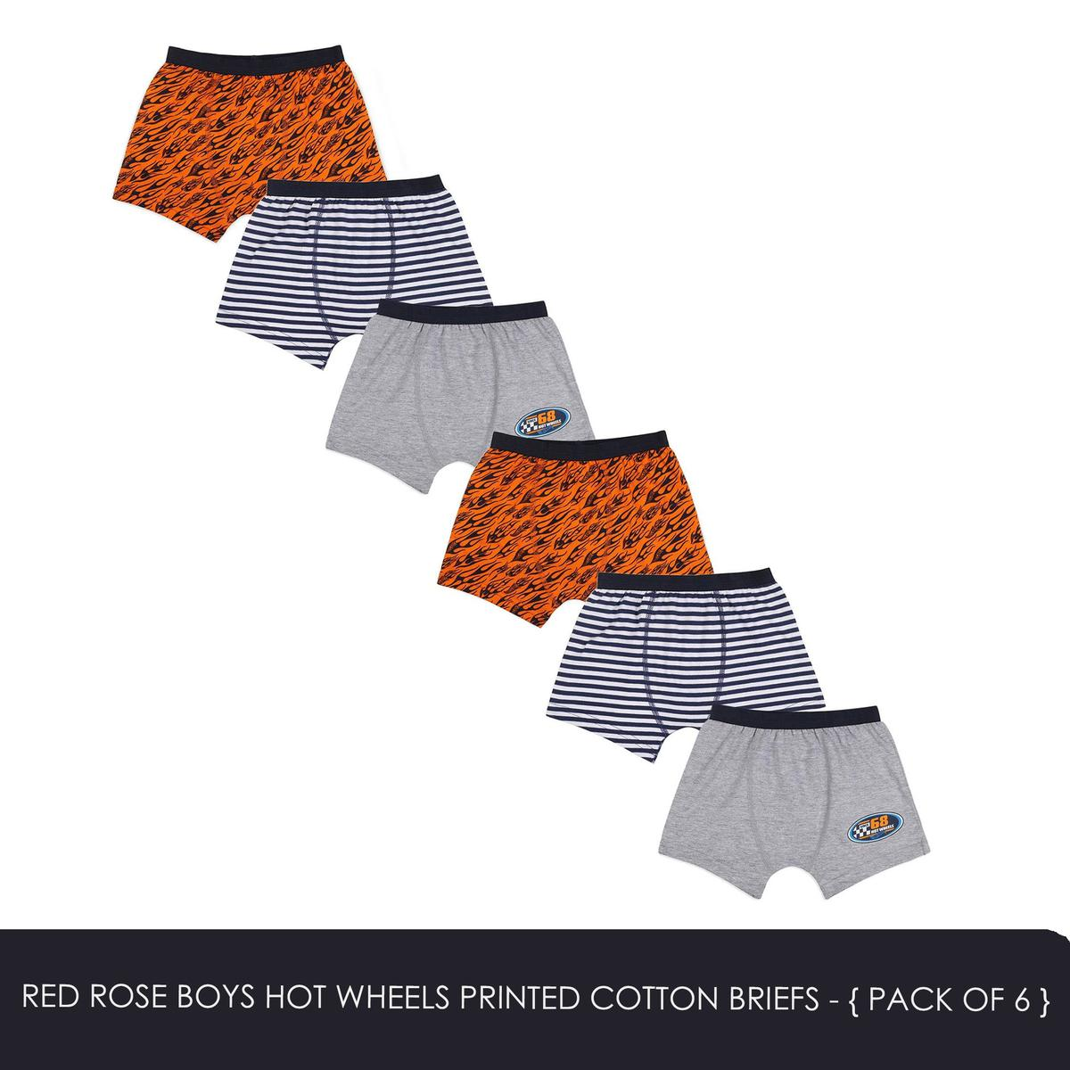 Red Rose - Boys Hot Wheels Printed Cotton Briefs - Pack Of 6