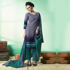 Navy Blue Colored Casual Wear Printed Soft Cotton Dress Material