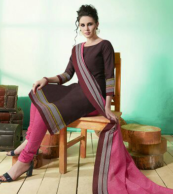 Brown - Pink Colored Casual Wear Printed Soft Cotton Dress Material