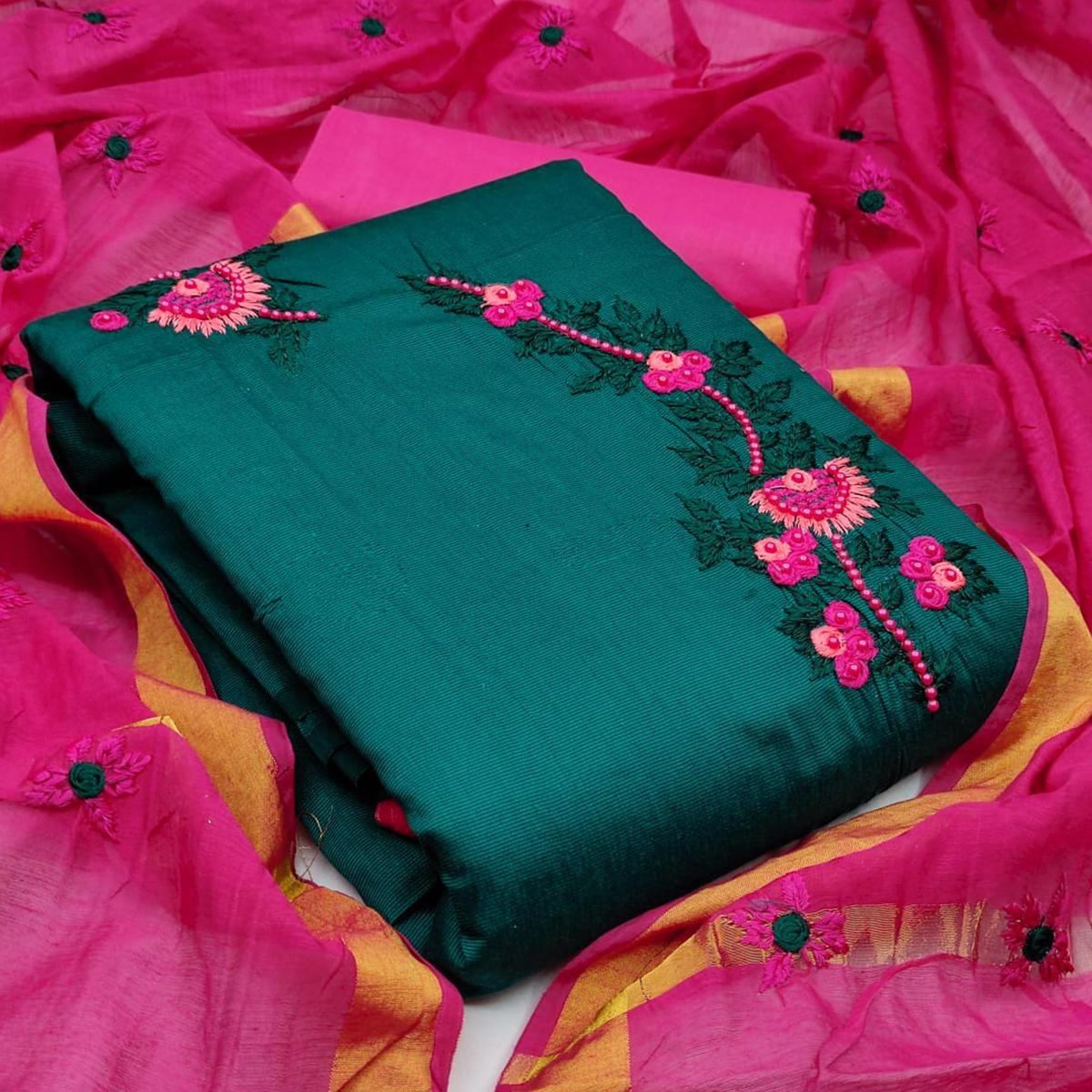 Captivating Rama Colored Casual Wear Embroidered Cotton Dress Material