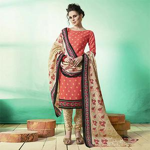 Peach - Beige Colored Casual Wear Printed Soft Cotton Dress Material