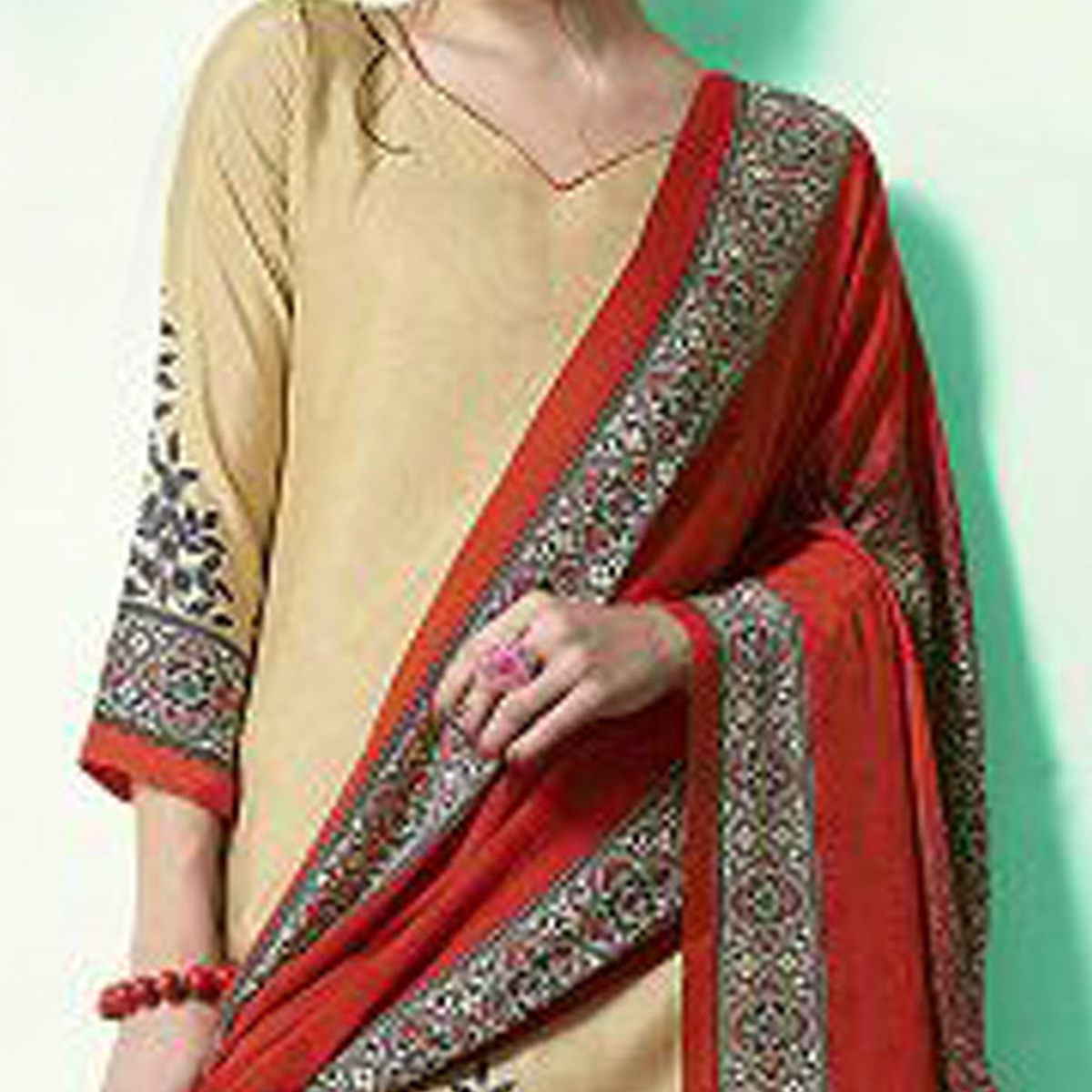 Beige - Red Colored Casual Wear Printed Soft Cotton Dress Material