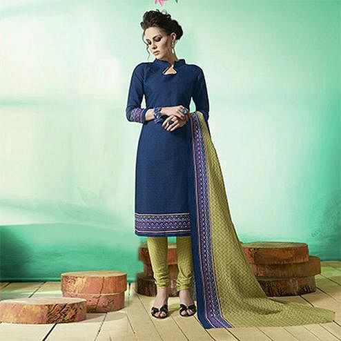 Blue Colored Casual Wear Printed Soft Cotton Dress Material