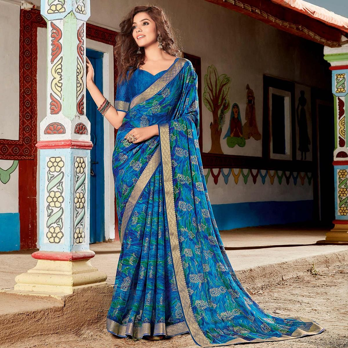Desirable Blue Coloured Partywear Printed Brasso Saree
