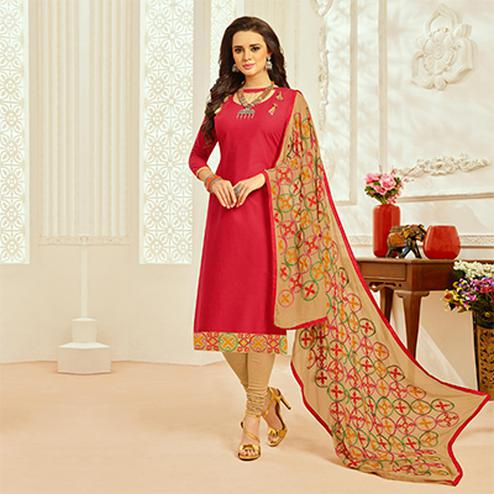 Red Colored Casual Wear Cambric Cotton Dress Material
