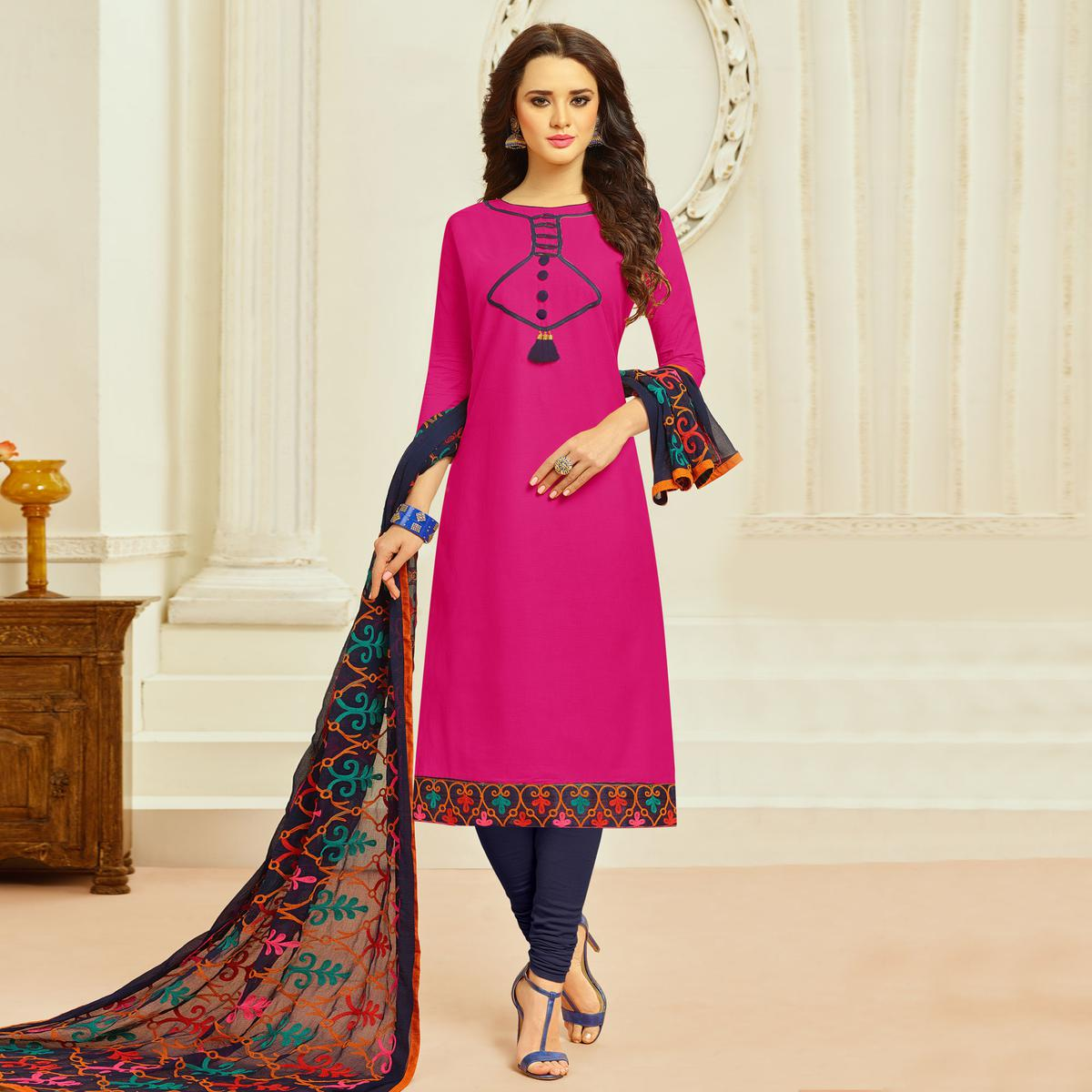 Deep Pink Colored Casual Wear Cambric Cotton Dress Material