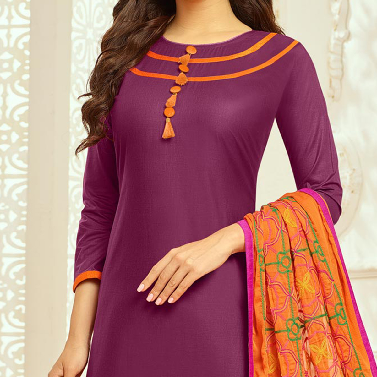 Purple Colored Casual Wear Cambric Cotton Dress Material