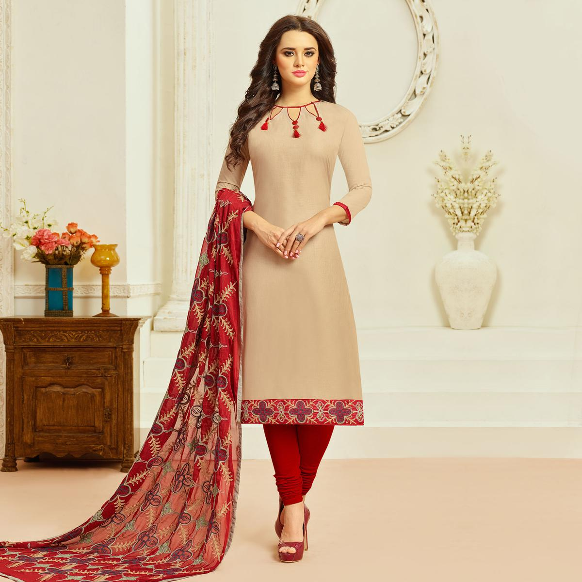 Beige Colored Casual Wear Cambric Cotton Dress Material