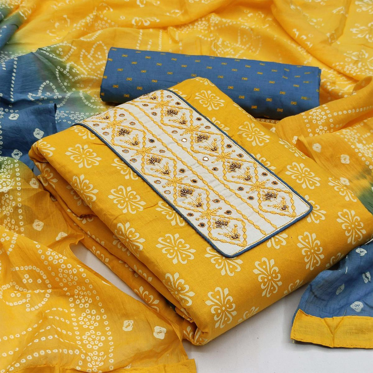 Glorious Yellow-Blue Colored Casual wear Printed Cotton Dress Material