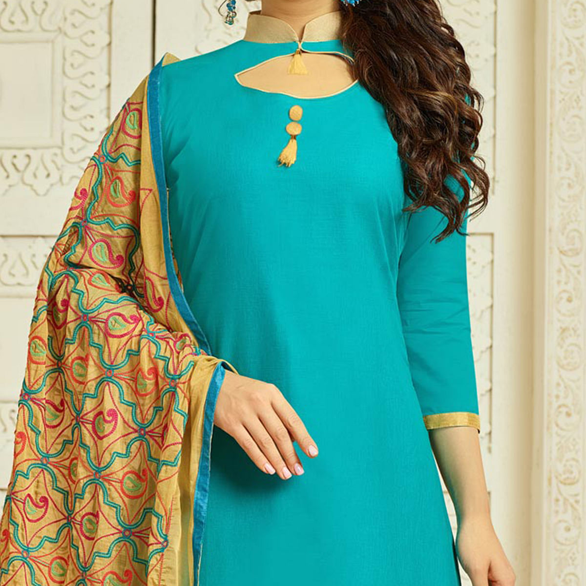 Sky Blue Colored Casual Wear Cambric Cotton Dress Material