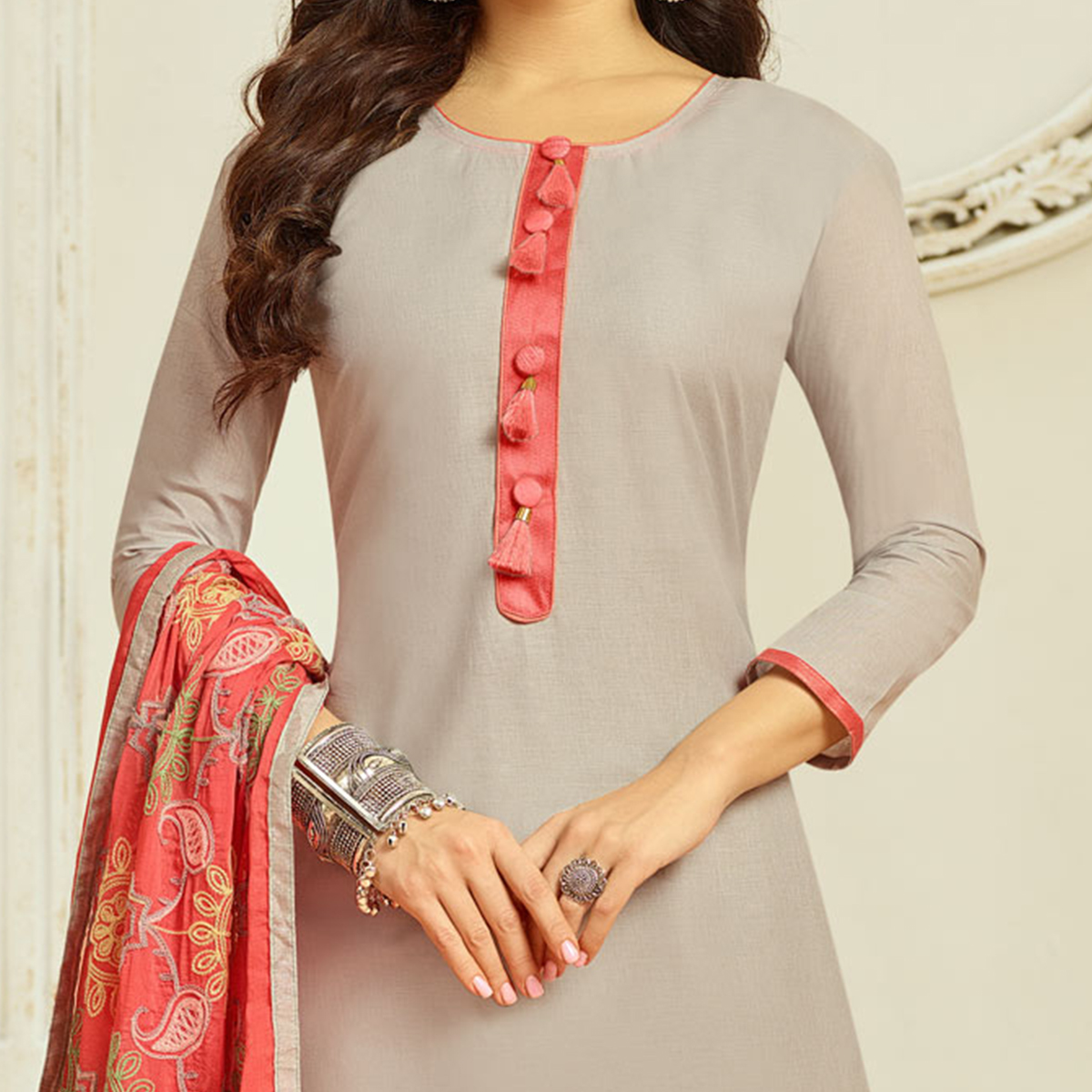 Grey Colored Casual Wear Cambric Cotton Dress Material