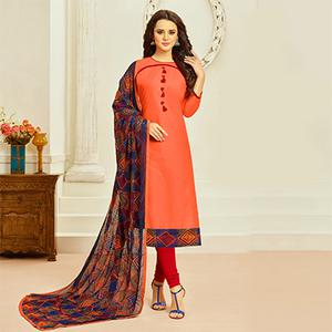 Orange Colored Casual Wear Cambric Cotton Dress Material