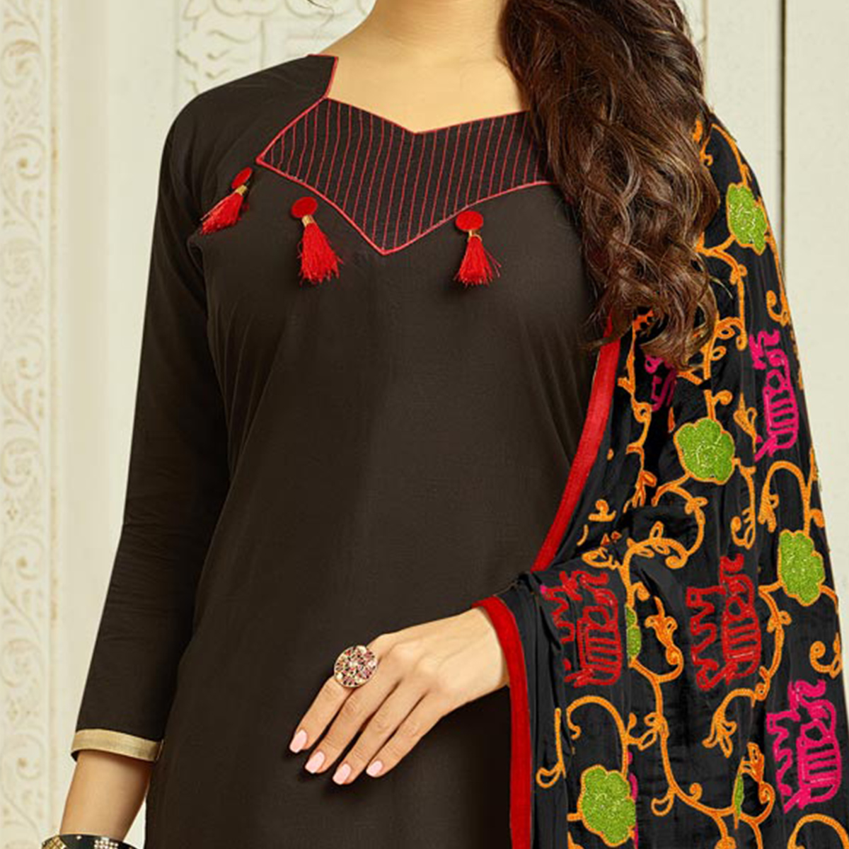 Black Colored Casual Wear Cambric Cotton Dress Material