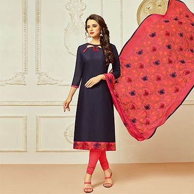 Blue Colored Casual Wear Cambric Cotton Dress Material