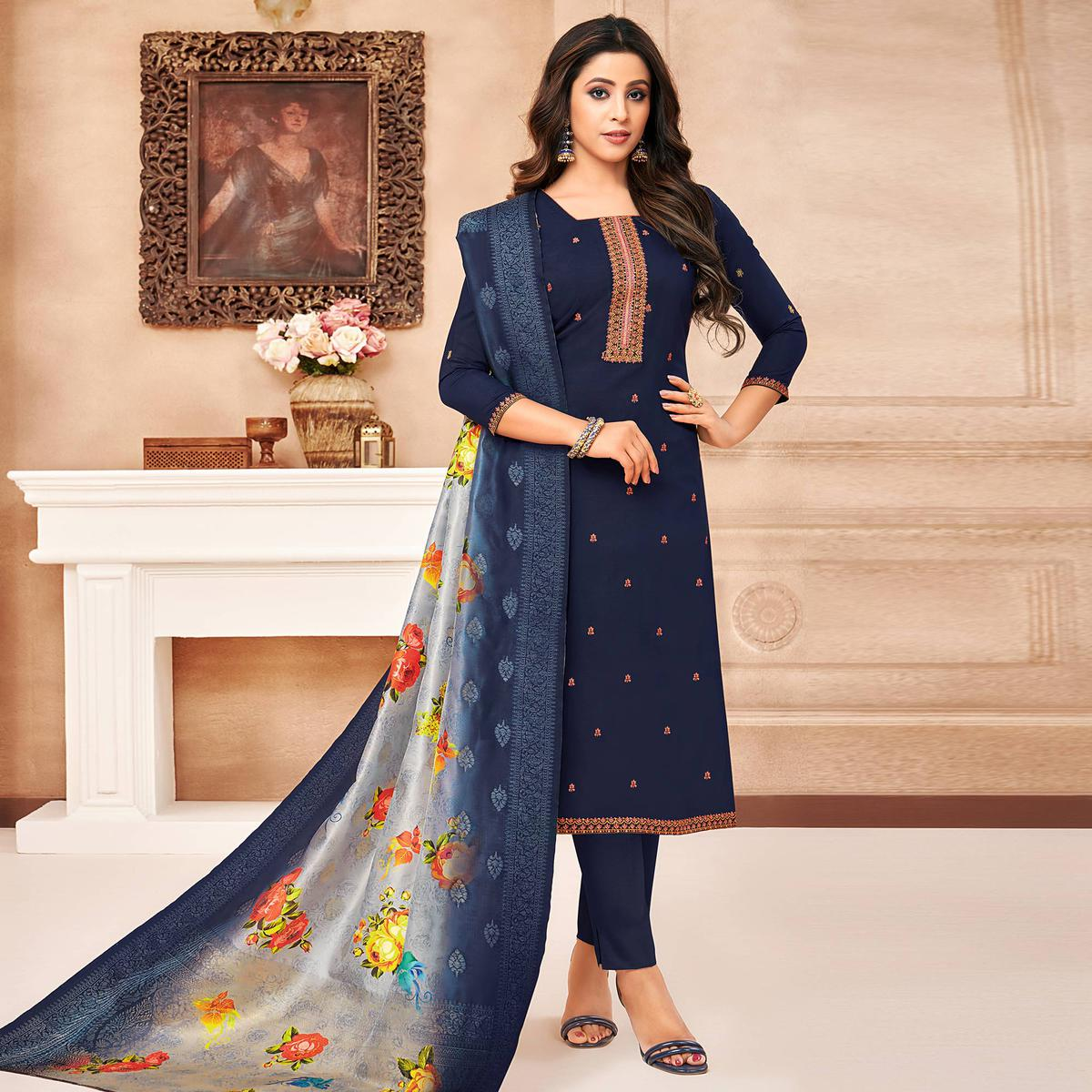 Gorgeous Navy Blue Coloured Casual Wear Printed & Embroidered Maslin Silk Dress Material Straight Cut Suit