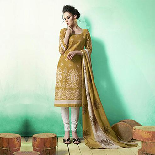 Dark Beige Colored Casual Wear Printed Soft Cotton Dress Material