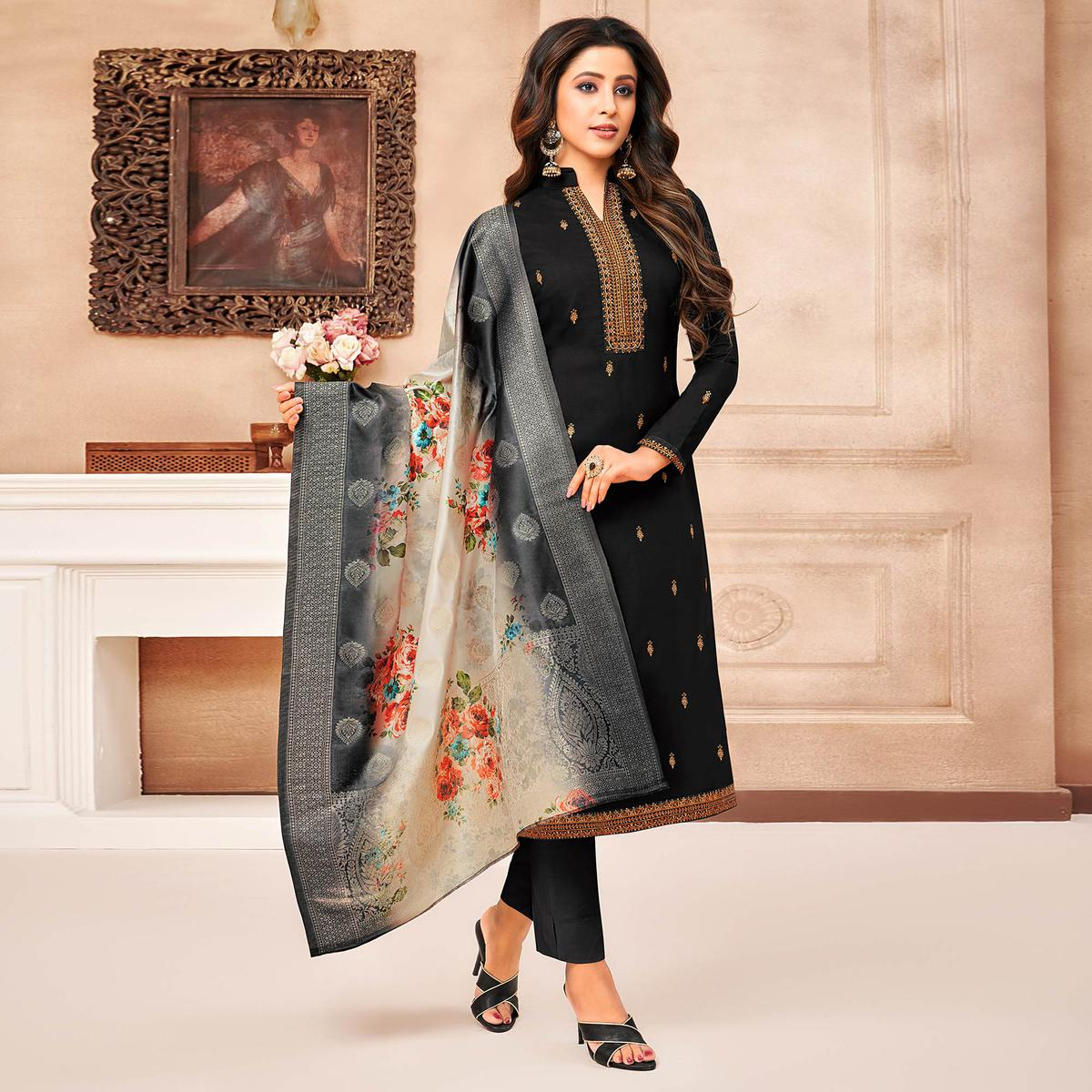 Lovely Black Coloured Casual Wear Printed & Embroidered Maslin Silk Dress Material Straight Cut Suit