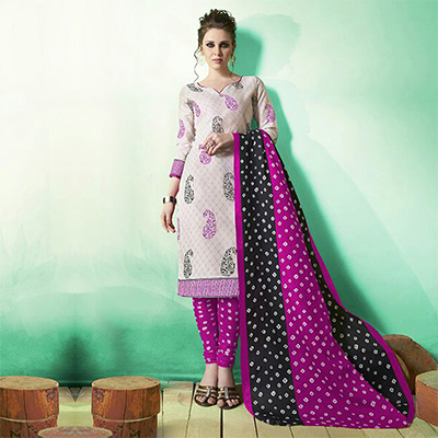 White - Magenta  Colored Casual Wear Printed Soft Cotton Dress Material