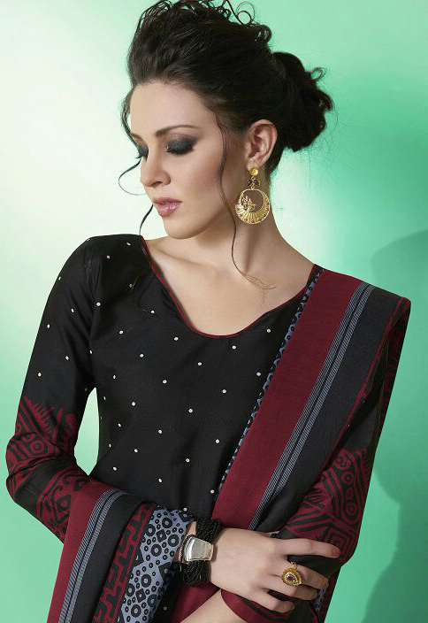 Black Colored Casual Wear Printed Soft Cotton Dress Material
