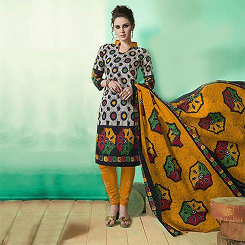 Grey - yellow Colored Casual Wear Printed Soft Cotton Dress Material