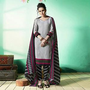Grey - Black Colored Casual Wear Printed Soft Cotton Dress Material