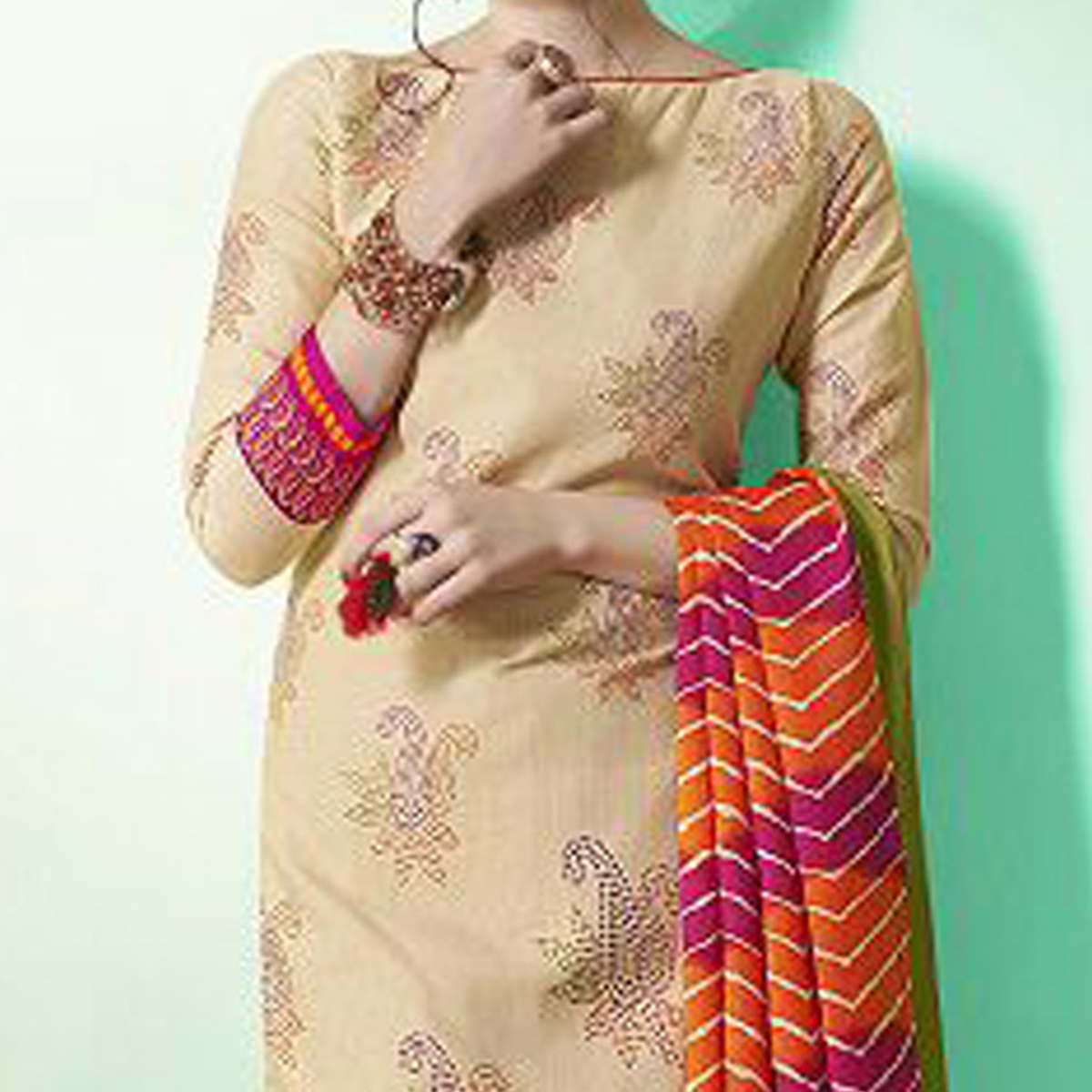 Beige - Orange Colored Casual Wear Printed Soft Cotton Dress Material