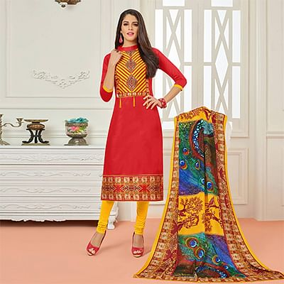Red Casual Wear Digital Printed Glaze Cotton Dress Material