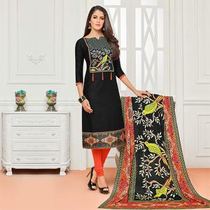 Black Casual Wear Digital Printed Glaze Cotton Dress Material