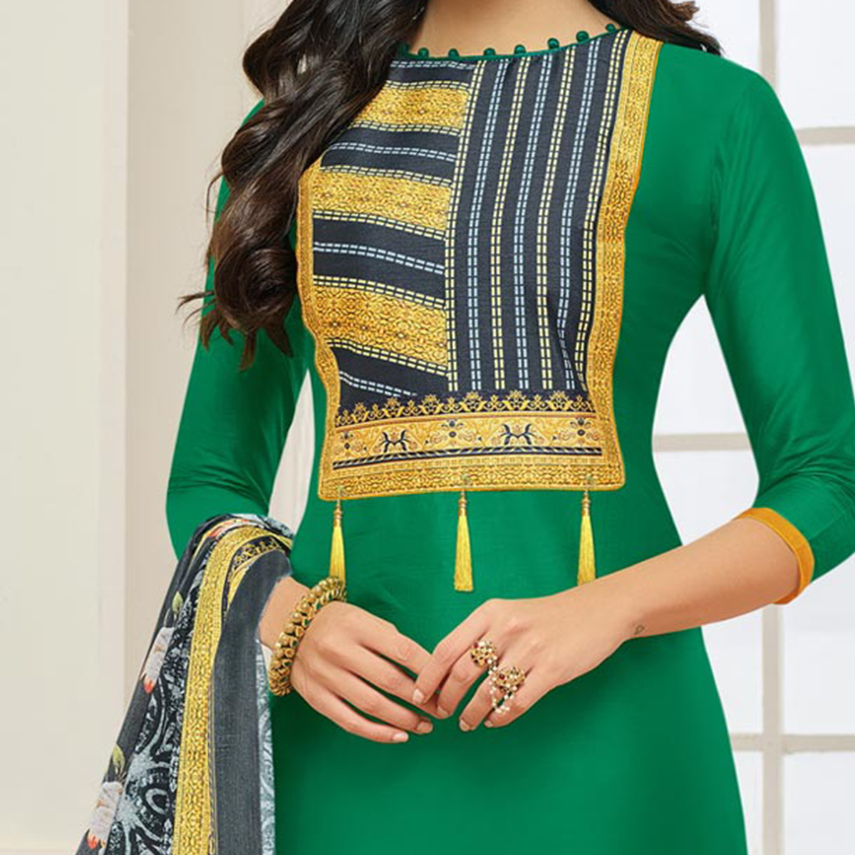 Green Casual Wear Digital Printed Glaze Cotton Dress Material