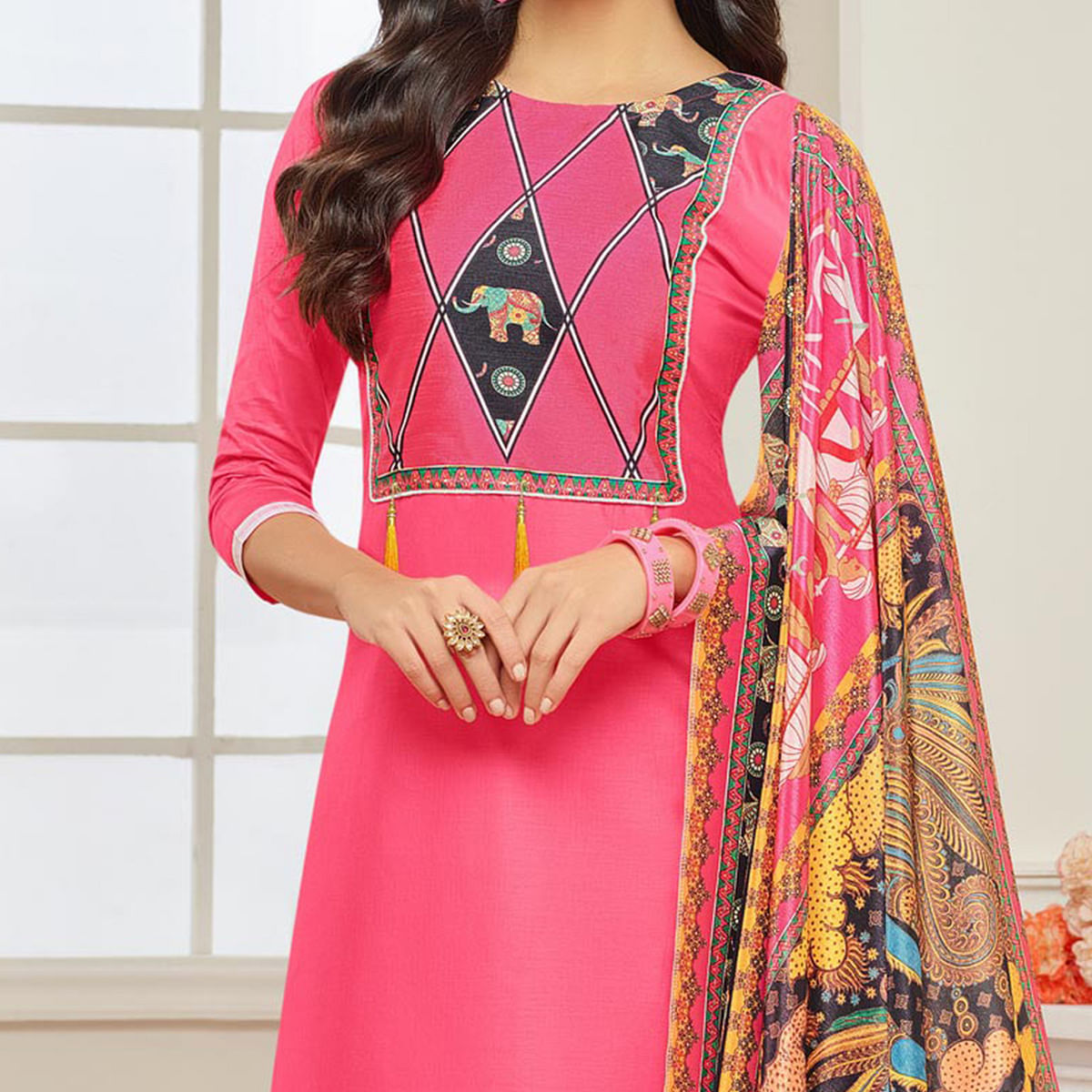 Pink Casual Wear Digital Printed Glaze Cotton Dress Material