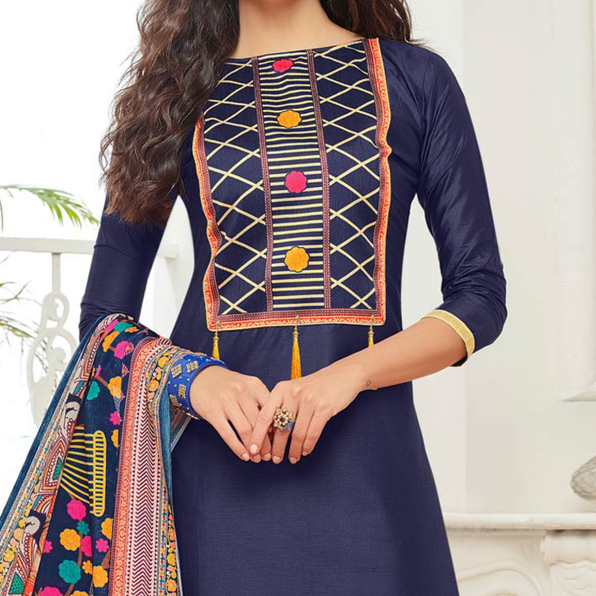 Navy Blue Casual Wear Digital Printed Glaze Cotton Dress Material