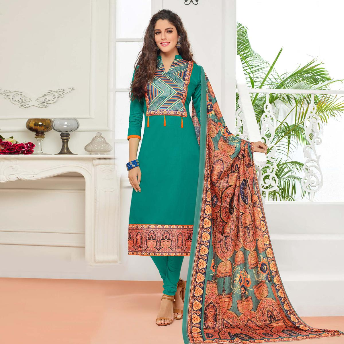 Rama Green Casual Wear Digital Printed Glaze Cotton Dress Material