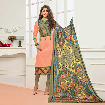 Peach Casual Wear Digital Printed Glaze Cotton Dress Material