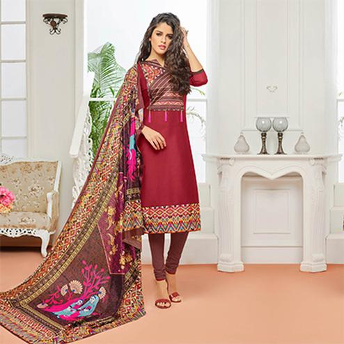 Maroon Casual Wear Digital Printed Glaze Cotton Dress Material