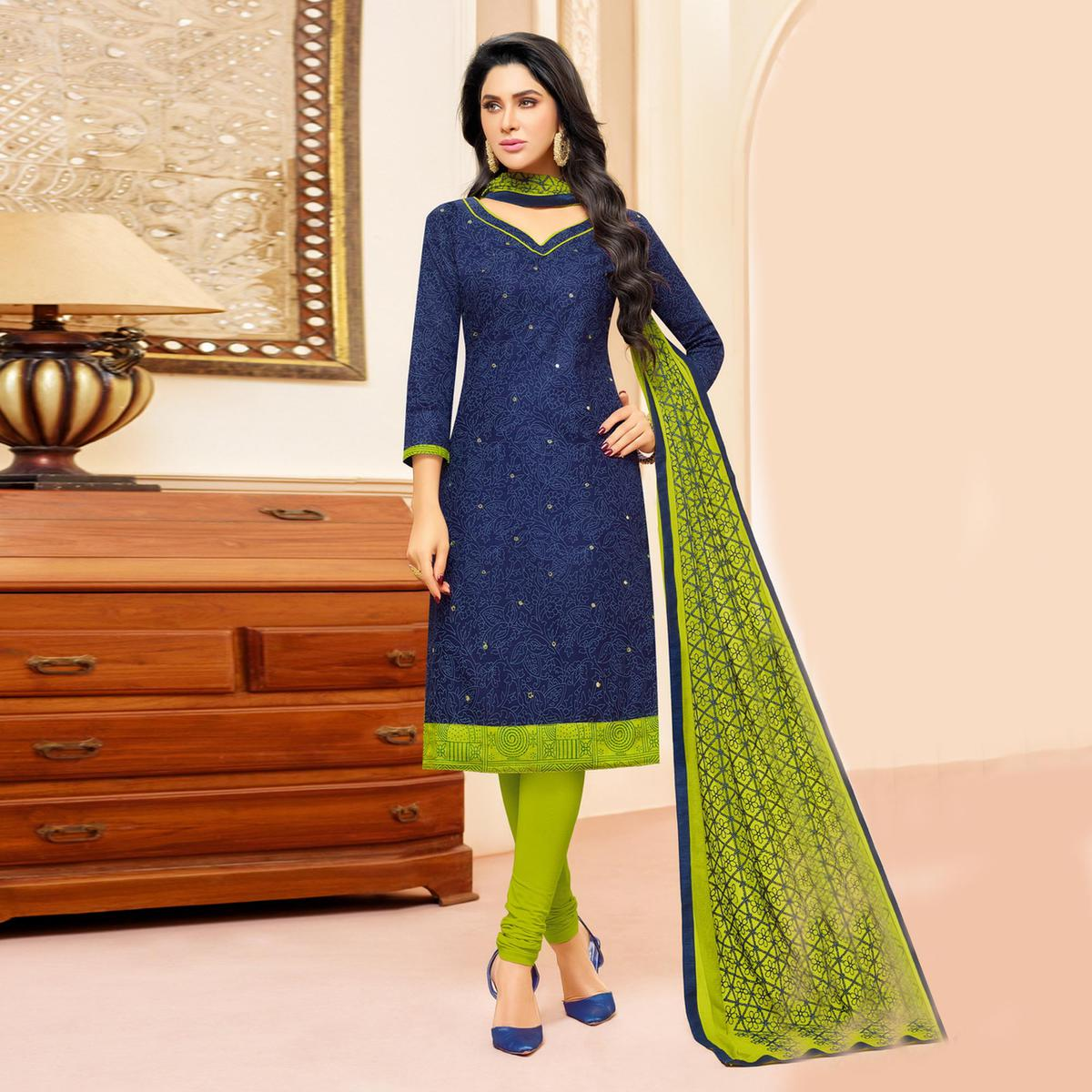 Navy Blue Colored Designer Embroidered Cotton Dress Material