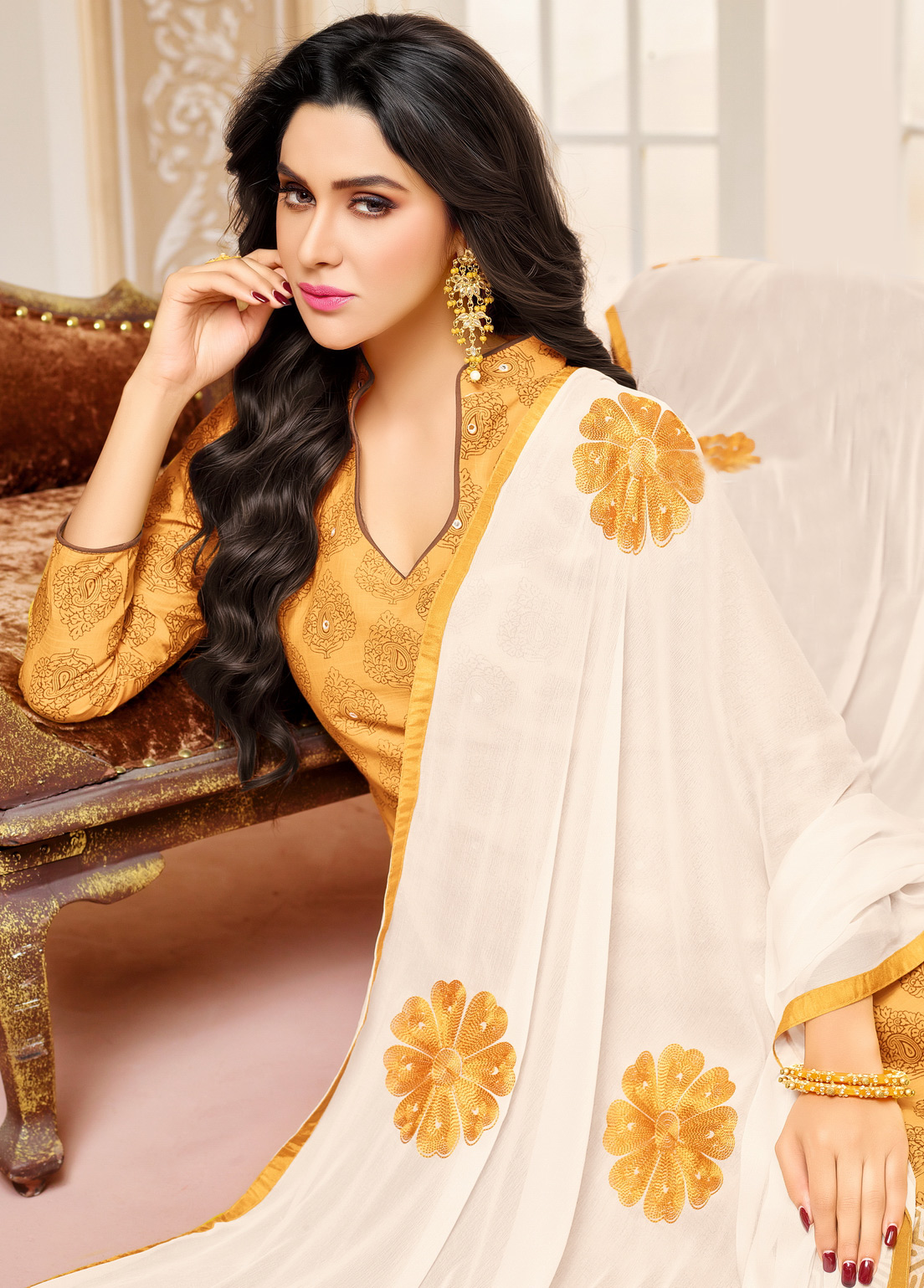 Yellow Colored Designer Embroidered Cotton Dress Material