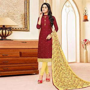 Maroon Colored Designer Embroidered Cotton Dress Material
