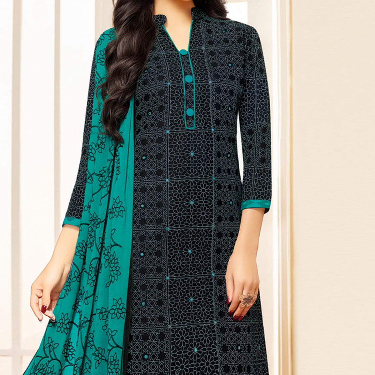 Black Colored Designer Embroidered Cotton Dress Material
