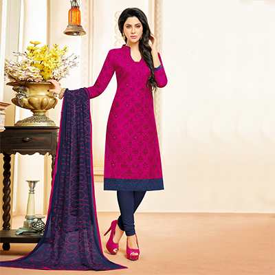Dark Pink Colored Designer Embroidered Cotton Dress Material